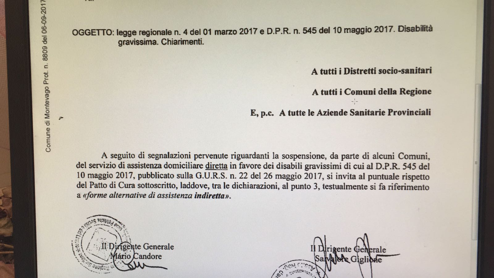 La Regione Siciliana da ragione ai Disabili Gravissimi: i Comuni ripristinano l'assistenza
